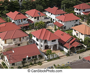 Aerial view of residential area