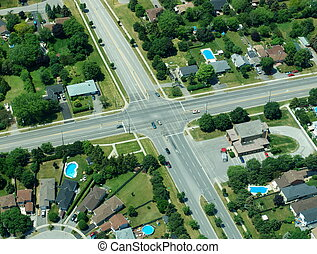 Aerial view of residential area in typical suburb home ...