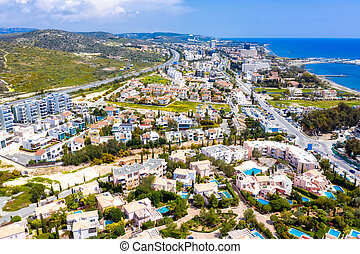 Aerial view of residential buildings at Agios Tychon area. ...
