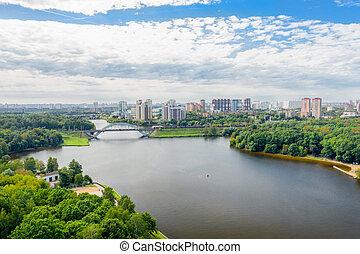 Aerial view of residential buildings in the city of Khimki ...