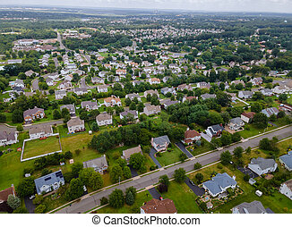 Aerial view of residential district, with mixed new development