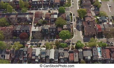 Aerial view of residential homes in Toronto, Ontario in late...