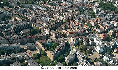 Aerial view of residential houses in Poznan, Poland