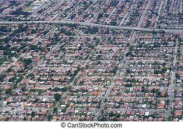 Aerial view of residential houses in Texas - Aerial view of...
