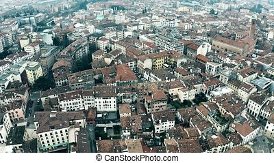 Aerial view of residential houses in Treviso, Italy