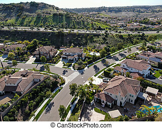 Aerial view of residential modern subdivision luxury house.