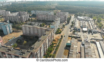 Aerial view of Residential multi-storey buildings in the city