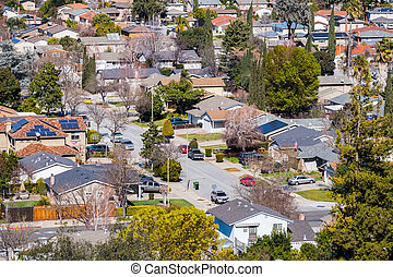 Aerial view of residential neighborhood in San Jose, south San Francisco bay area, California