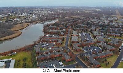 Aerial view of residential neighborhood the US. housing...