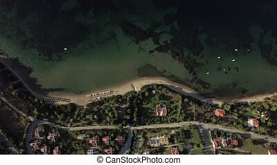 Aerial view of resort town on sea coast, Greece - Aerial...