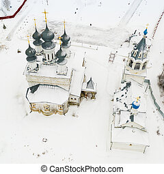 Aerial view of Resurrection Monastery in Russian town of Murom in winter