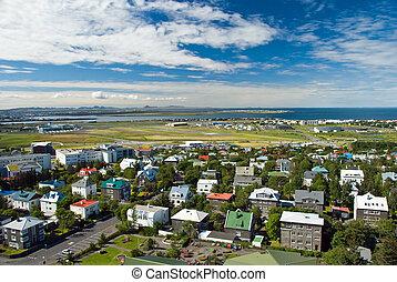 Aerial view of Reykjavik city on Iceland from Hallgrimskirkja church.