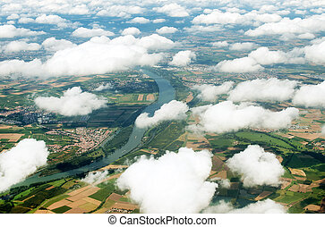 Aerial view of Rhine river in Germany.