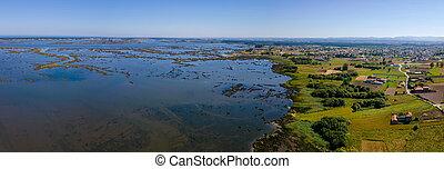 Aerial View of Ribeira das Teixugueiras near the Aveiro ...