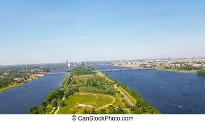 Aerial view of Riga from TV tower. Daugava, Latvia
