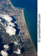 Aerial view of Rimini and adriatic sea (Italy)