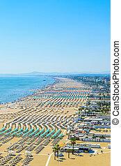Aerial view of Rimini beach in Italy