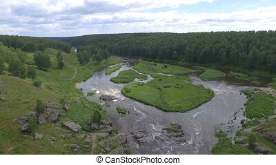 Aerial view of river among woods