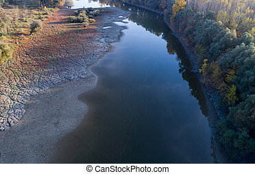 Aerial view of river and nature in autumn