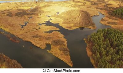 Aerial View Of River And Wetland In Autumn Day.. Top View Of...