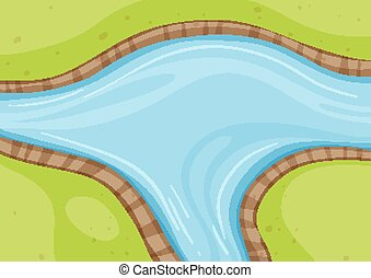 Aerial view of river close up