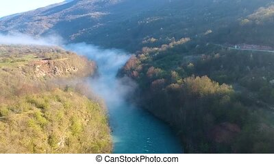Aerial view of river Drina in Bosnia and Herzegovina, Europe