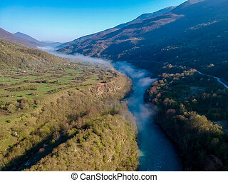 Aerial view of river Drina in Bosnia and Herzegovina