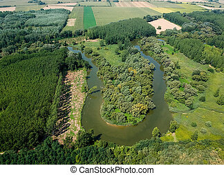 Aerial view of river Hernad in Hungary