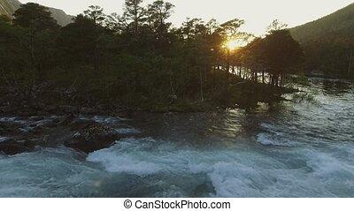 Aerial view of river in Husedalen Valley, Norway. Summer...