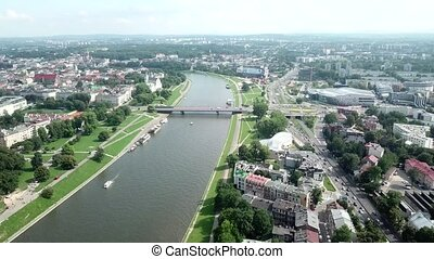 Aerial view of river in Krakow, Poland