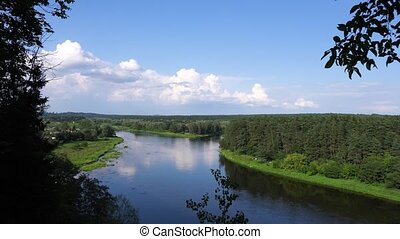 aerial view of river in the woods - summer river landscape...