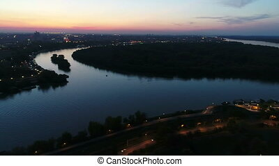 Aerial view of river island night
