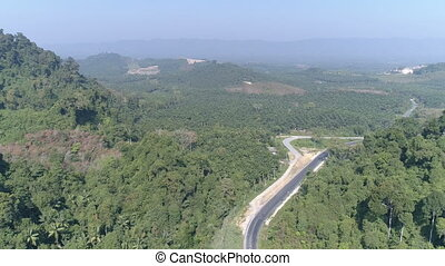 Aerial view of road among beautiful rain forest - Aerial...