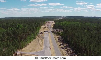 Aerial View of Road Construction, sunny day