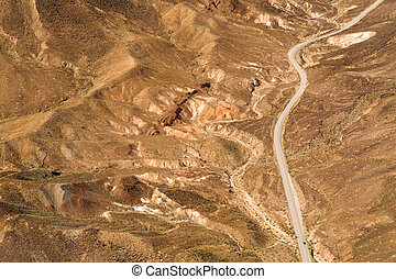 aerial view of road grand canyon from helicopter