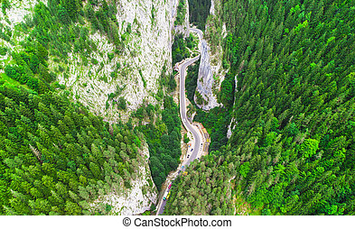 aerial view of road in Bicaz Gorges, Romania