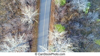 Aerial view of road in countryside 4k - Aerial view of road...