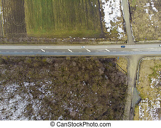 aerial view of road in forest. Romania