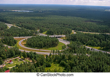 Aerial view of road in Latvia.
