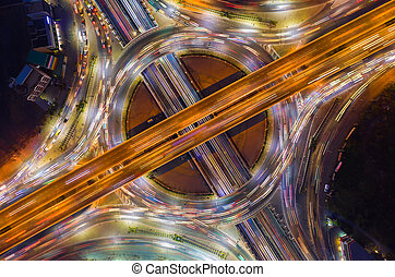 Aerial view of road junction, Intersection in thailand