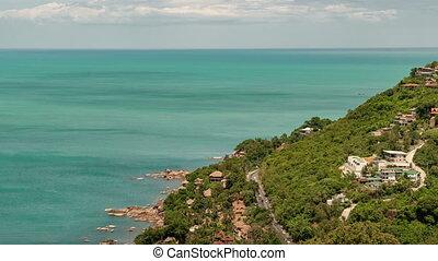 Aerial view of road on sea coasta of Koh Samui, Thailand. Timelapse 4K.