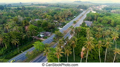 Aerial view of road on tropical island