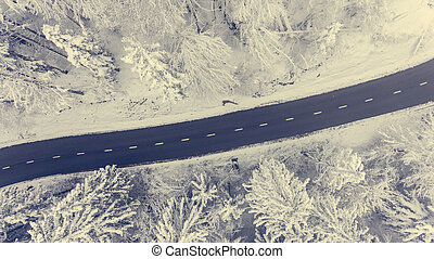Aerial view of road through a winter forest.