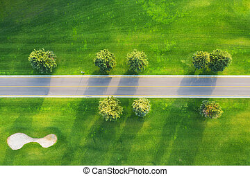 Aerial view of road through beautiful green field at sunset