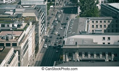 Aerial view of road traffic in business district in Berlin, Germany