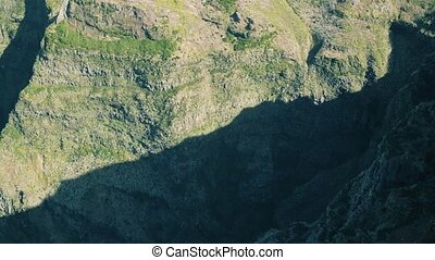 Aerial View of Rock and Mountains Landscape, Island Madeira Portugal