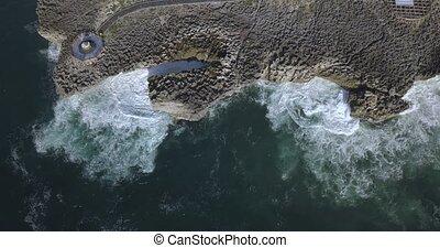 Aerial view of rocky coast, Nusa Dua beach, Bali, Indonesia