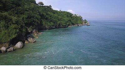 Aerial view of rocky coastline, Bali, Indonesia