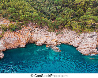 aerial view of rocky shore Adriatic Sea