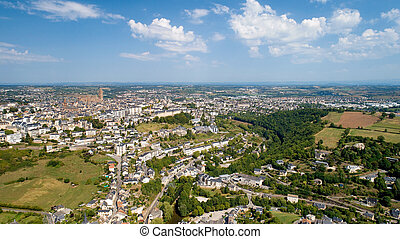 Aerial view of Rodez city in the Aveyron